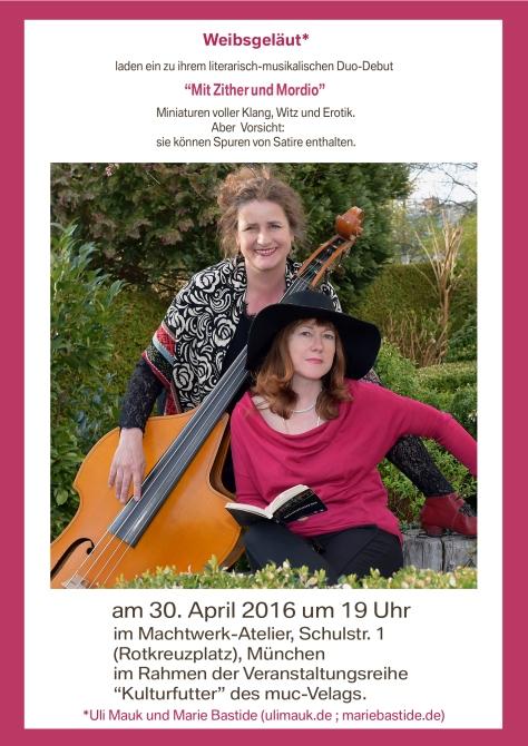 Auftritt am 30.4. im Machwerk-Ateiier München
